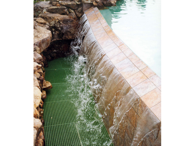 Fiberglass Reinforced Plastic Grating in Fountains does not rust like Steel